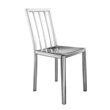 Eve Steel Dining Side Chair, Silver