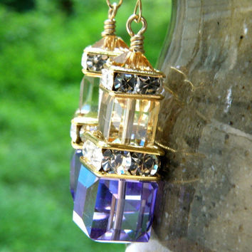 Tanzanite and Champagne Earrings, Stacked Cube, Swarovski Crystal, Gold Filled, Purple Dangle Bridesmaid Wedding Jewelry, Handmade Jewelry