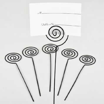 Darice VL12165BLK Wedding Circle Swirl Place Card Holder Pick, 6-Inch, Black, 6-Pack