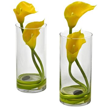 Artificial Flowers -Double Calla Lily With Cylinder -Set Of 2 Arrangement No4