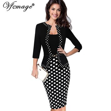 Vfemage Womens Autumn Retro Faux Jacket One-Piece Polka Dot Contrast Patchwork Wear To Work Office Business Sheath Dress 4116