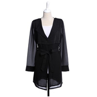 Plain Drawstring Waist Long Style Coat,Cheap in Wendybox.com
