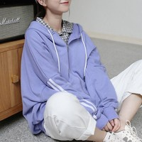 Color hoodie zipper sweater female lazy loose long-sleeved jacket student sports shirt spring and autumn