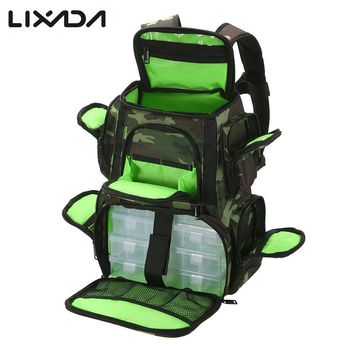 Lixada Fishing Bag Water resistant Fishing Lures Reel Backpack Fish Tackle Box Storage Bag with Fishing Tackle Boxes Pesca