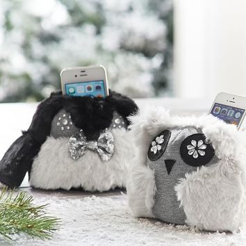 Jeweled Fur Animal Phone Holder