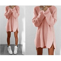 Beautiful Girl Autumn Winter Sweater Knitted Dress Women Tunic Casual Zipper Boho Dresses Runway Hippie Chic Clothes Plus Size