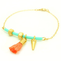 Mint Coral Geometric Bracelet with Tiny Gold Hex Nuts , Spike , Rubber Bar & Tassel - S/S 2013 TREND