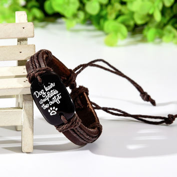 New Sale Dog Paw Leather Bracelet Dog Lover Pet Memorial Fashion Jewelry Dog paw Leather Bracelets Gift for Dog Lovers
