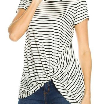 White Gathered Hem Tee with Black Stripes
