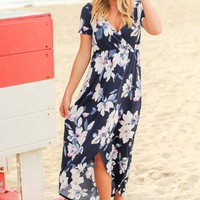 Navy Floral High Low Dress with Short Sleeves
