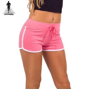 YANQIN Womens Running Shorts Gym Cool Woman Stripe Sexy Sport Shorts Fitness Quick Dry Shorts Sportswear Yoga Shorts Pants