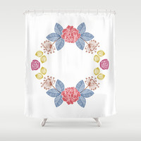 Hand Drawn Floral Wreath Design Shower Curtain by Zany Du Designs