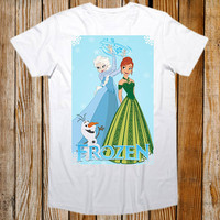 Favorite Designs disney Anna, Elsa and Olaf from FROZEN ScreenPrint T shirt Mens and T shirt Girl