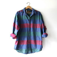 Vintage Striped Flannel / Grunge Shirt / Boyfriend button up shirt / preppy flannel