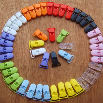 50 Pcs Mix Colors KAM Plastic Pacifier Clip Holder Soother Mam Baby Dummy Clips Chain For 20mm Ribbon 10 Colors S017 MH023