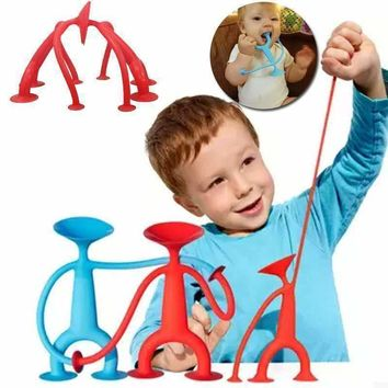Creative Suction Cup Silicone Pull Draw Play Fun Sucker Toys Man Kids Children
