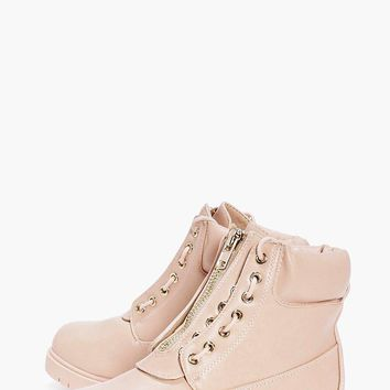 Mollie Zip Detail Lace Up Hiker
