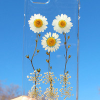Hand Selected Natural Dried Pressed Flowers Handmade on iPhone 4 4S 5 5S 5C 6 / 6 Plus Crystal Clear Case: White Daisy Coneflower Design