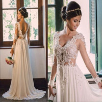 Beach Casual Long Sleeve Lace Appliqued Beading Backless Sexy Bohemian Wedding Dress 2015