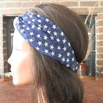 American Flag Headband USA Hair Band Red White and Blue July 4th of july Headband American Flag Turband chiffon material with elastic back
