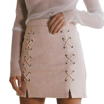 Womens High Waist Pencil Skirt Suede