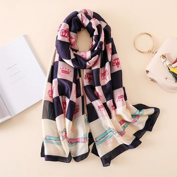 Luxury Brand New Summer Women's Scarf Fashion Lady Silk Scarves Crown Plaid Print Shawls Pashmina Foulard Femme Long Bandana