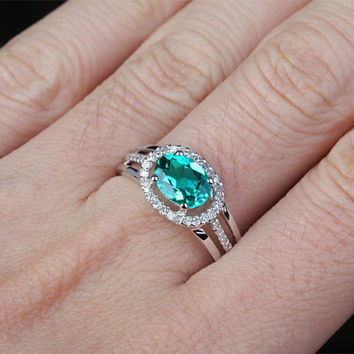 8x6mm Lab Emerald Engagement ring White gold,Diamond wedding band,14k,E-W Direction Oval Cut Treated Emerald,Green Gemstone Promise Ring