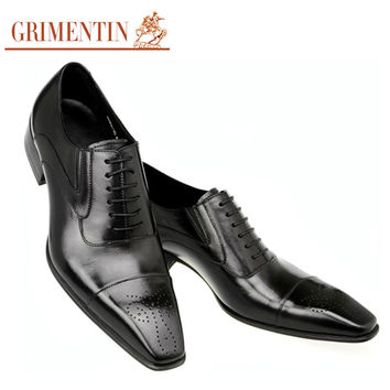 men dress shoes wedding business vintage Carved Designer black fashion genuine leather shoes men footwear