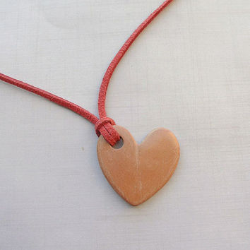 Heart Terracotta Diffuser Necklace - Essential Oils - Faux Suede, Satin Cord - unglazed Terra Cotta Clay Pendant Love Valentines Day