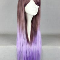 Long Brown and Purple Ombre Wig, Cosplay Wig, Anime Wig, Straight Gradient Wig for Anime Conventions