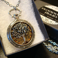 Tree of Life over Etched Gear Pocket Watch Style Pendant Necklace (1968)