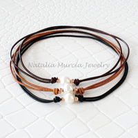 Pearl Choker Necklace on Leather and Rose Gold. Handmade Freshwater Pearl Rose Gold Filled Beads Genuine Leather Brown Black Light Brown