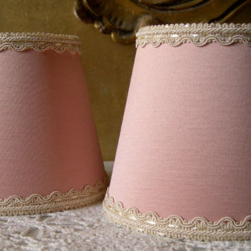 Pair of Chandelier Clip-On Mini Lamp Shade Antique Pink Satin Fabric Wall Sconce Lampshade - Handmade in Italy
