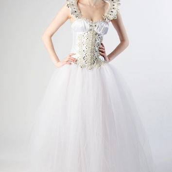 Custom Snow Queen Crystal Corset Wedding Gown Costume Prom Dress Evening Gown