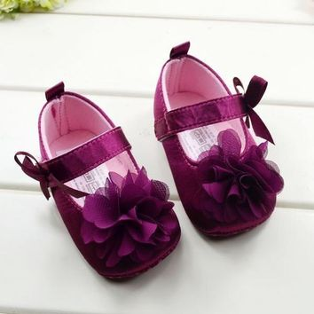 Toddler Kids Baby Girls Bowknot Flower Soft Bottom Shoes Baby Shoes 3 size = 192966387