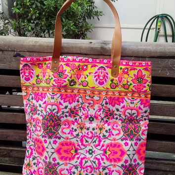 Backpack Paint bag, Neon Printed,Boho Tote bag Canvas, Tribal, Hobo, Hipie bag, Weekender bag, Beach bag, Boho Bag Beach Tote Tote Bag