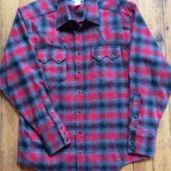 Fitted Plaid Flannel Western Shirt