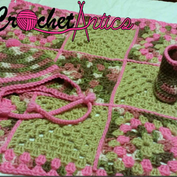 Crochet, Pink and camo baby set, newborn, hat, blanket, booties, camouflage, gift set, baby shower gift, 3 piece, rustic, baby girl camo