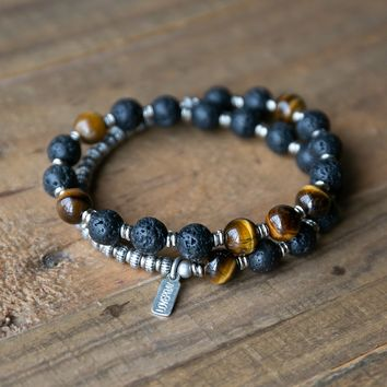 Lava Rock and Tiger's Eye Men's Wrap Bracelet, Solar Plexus Chakra Bracelet