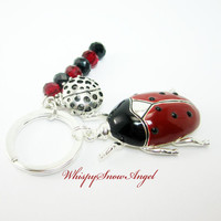 Ladybug Keychain, Black and Red Rondelles, Garden Bug, Insect Key Chain, Large Enamel Charm, Silver Plate Key Ring