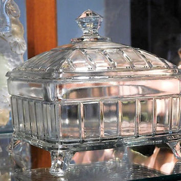 1800s Victorian EAPG Covered Butter Dish Honey Dish Higbee Antique Square Footed Glass Dish Lid Wedding Gift Cottage Home Decor Centerpiece