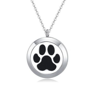 Paw Print Essential Oil Diffuser Necklace (Cat or Dog)