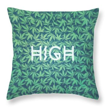 High,Typo,,Cannabis,,,Hemp,,420,,Marijuana,,,Pattern,Throw,Pillow