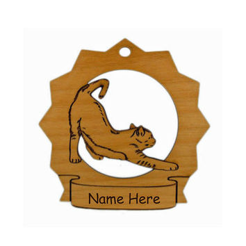 7129 Cat Stretching Personalized Wood Ornament Personalized with Your Cat's Name - FREE SHIPPING