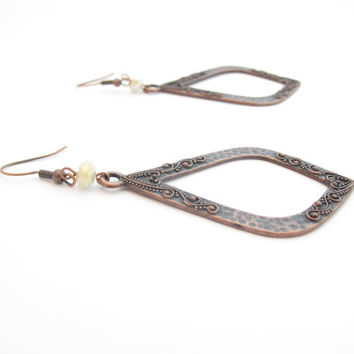 Big Copper Earrings, Teardrop Shape, White Crystal Bead Accent