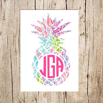Lilly Pulitzer Pineapple Monogram Decal, Lilly Pulitzer Pineapple Monogram Sticker, Monogram decal, Yeti decal, Free Shipping, Lilly Decal