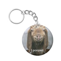 Goat pooping basic round button keychain