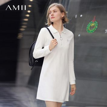 Amii Casual Women Dress 2018 Solid A-Line Turn-down Collar Zipper Long Sleeve Dresses