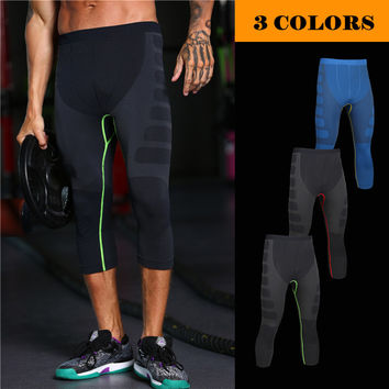 MASCUBE Man's Long Workout Fitness Compression Pants Crossfit Weight Lifting Bodybuilding Skin Tights Male Trousers