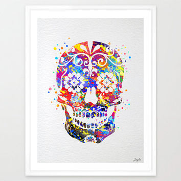 Sugar skull day of the dead watercolor illustration Art Print,Art Poster,Home Art Decor,Wall Hanging,Kids Art,Wedding,Birthday Gift,No 72